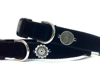"""1"""" Black Velvet Dog Collar (Free Shipping)"""