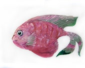 Watercolor painting-Pink fish-Art original