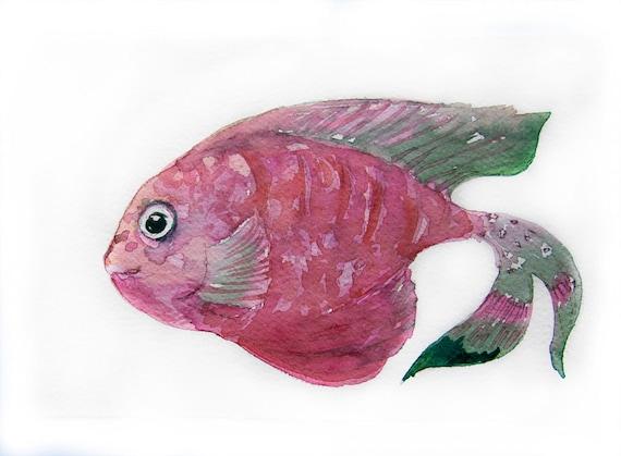 Watercolor painting-Pink fish-Art original
