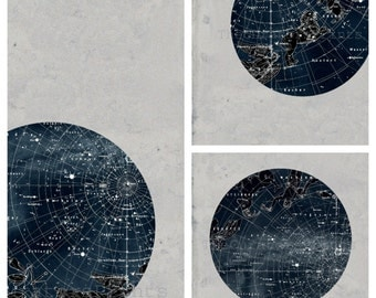 SET of Constellation Stars Map Zodiac Print Vintage Image, different sizes