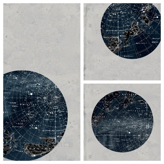 SET of Constellation Stars Map Zodiac Print Vintage Image, different sizes