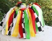Racing Skirt, Scrappy Tutu, Checkered Flag, Fabric Tutu, OOC, Outfit of Choice, Race Car Tutu, Car Birthday, Checkerboard Skirt