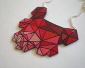 Geometric Minimalist Maroon to Peach Ombre Shrink Plastic Shield Necklace