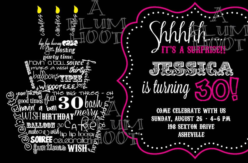 30th Birthday Invitation Surprise Party Can be customized – Surprise 30th Birthday Invites