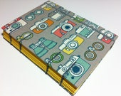 Organic Fabric Journal Notebook - Coptic Stitched - Vintage Cameras