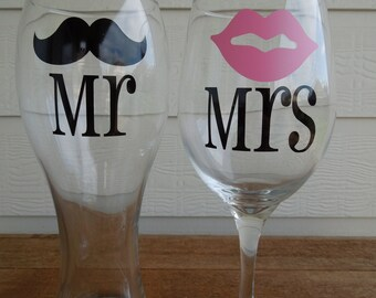 READY TO SHIP -Will Ship in 2-3 business days - Mr & Mrs Mustache and Lips Pilsner and Wine Glass -Wedding Gift -Shower Gift -Housewarming