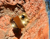 GLOSSY Gold colored LEGO block with Black Shiny crystal adjustable Gold plated ring
