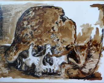 Skull with helmet. Lithographic Ink and pencil on paper.