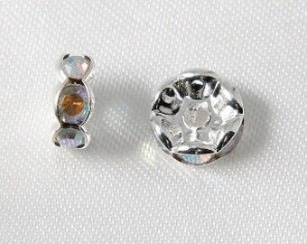 10 pcs - 8mm Rhinestone Rondelles Silver With Crystal AB