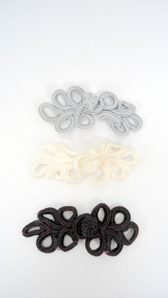 hardbead supplies, fiber knot fastener, 3 pcs, white,gray/silver, black, H00075