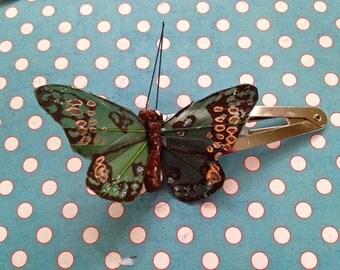 Green Butterfly Barrette