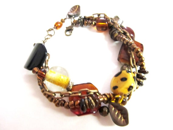 Three Strand Brass Amber Bracelet