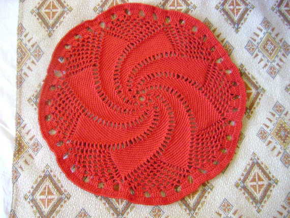 Red table doily coaster handmade crochet