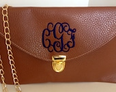 Monogrammed Clutch Purse-BROWN-Crossbody/Leather Clutch/Monogram