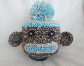 Crochet Sock Monkey Hat & Diaper Cover Set Handmade Blue Photo Prop
