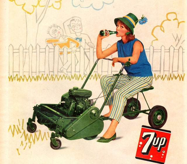 Vintage 1962 7 Up Soda Pop Ad Woman On Riding Lawn Mower Blue