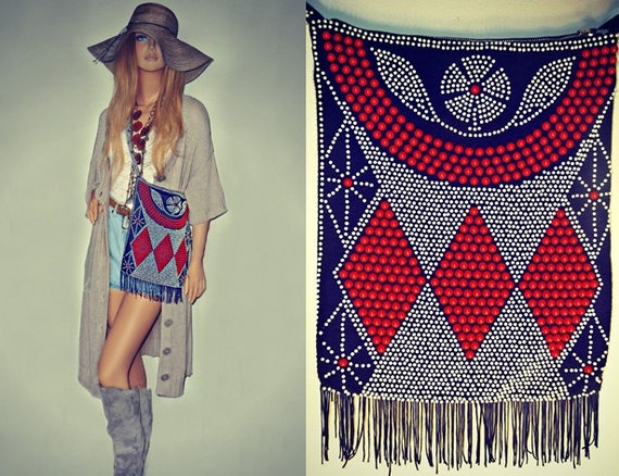 SALE 20% OFF 60's Vintage Beaded Aztec BOHO-Bag with Fringe
