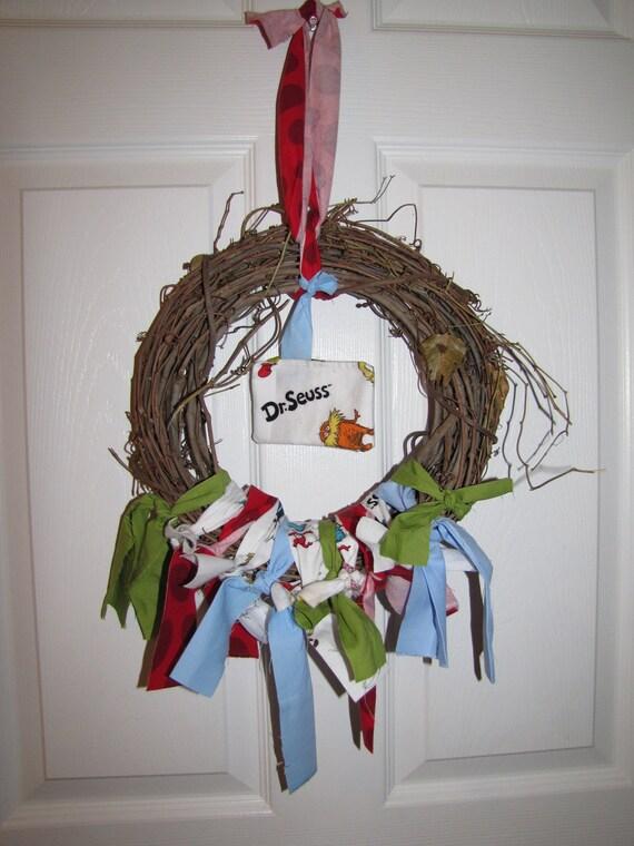 SALE Dr. Seuss Scrappy Grapevine Wreath
