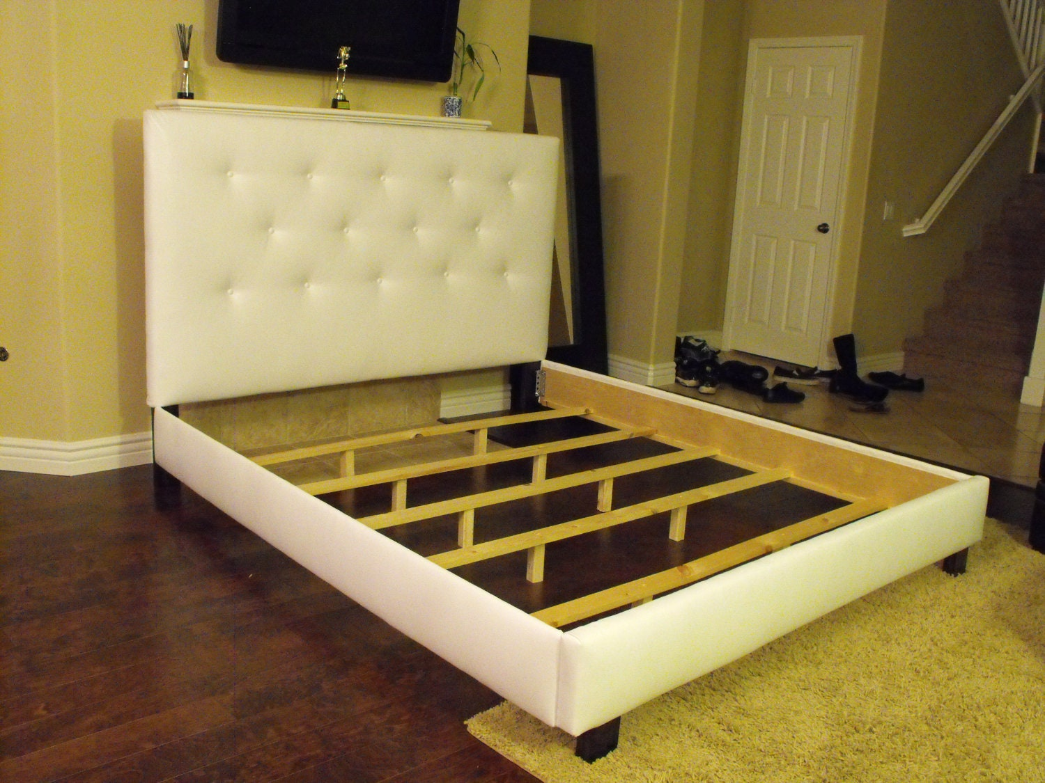 white queen or full size bed frame with button tufted by