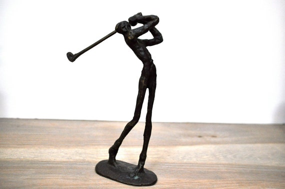 RESERVED- Bronze Giacometti Style Golfer Sculpture Brutalist