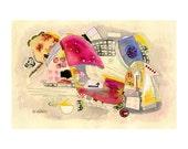 abstract painting contemporary modern art mixed media watercolor illustration drawing