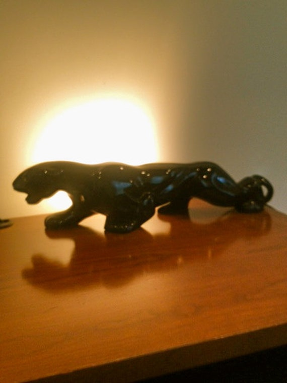 Sale 1950s Art Deco Black Panther Table Lamp