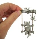Vintage JJ Cat Pin Brooch - Cat on Movable Swing Pewter Pin