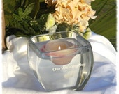 Candle Holder, Votive Glass, Flower Centerpiece Holder, Etched Glass Votive, Wedding Bubble Holder - Hand Made