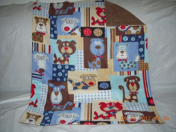 Doggy Blanket - blue and brown colored doggy patch print fleece with reversible solid brown fleece blanket