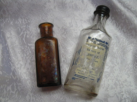 2 Antique Apothecary bottles clear glass Amber