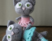 SALE - two cute crocheted ballerina cats