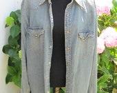 Vintage Gap - Long Sleeve Distressed Denim Chambray Oversized Shirt, Size Medium or Large