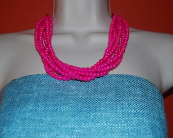 Chunky Bright Neon Pink Fushia Beaded Necklace Statement Bold