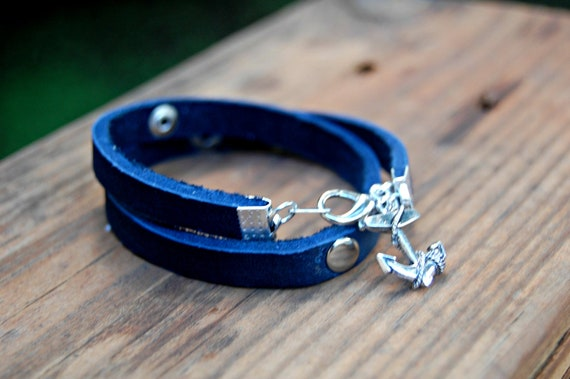 Navy Blue Leather Cuff Wrap Bracelet With Anchor Charm Nautical Beachy Bracelet