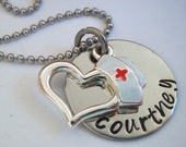 Nurse Jewelry  Heart Hat Personalized Hand Stamped Nursing