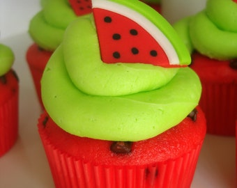 Set of 12 Watermelon Slice Fondant Cupcake Toppers - Watermelon Flavored