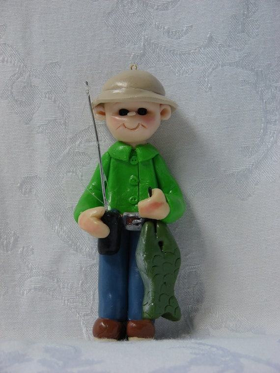 Personalized Fisherman Polymer Clay Christmas Ornament Figurine.  A handcrafted art sculpture.