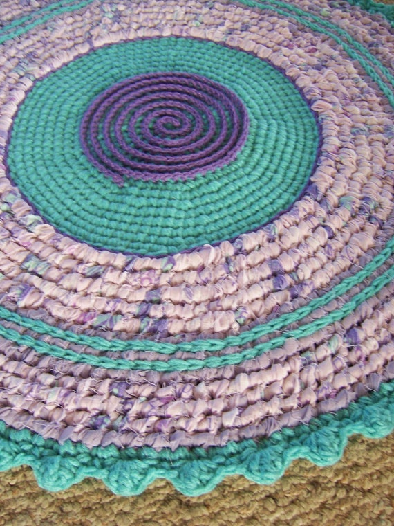 Toothbrush Rag Rug Crochet Rug Mixed Media Style Rug Non Skid Throw Rug Folk Art Rug Lavender and Turquoise