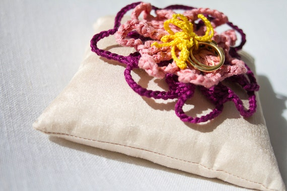Crochet Flower Ring Pillow