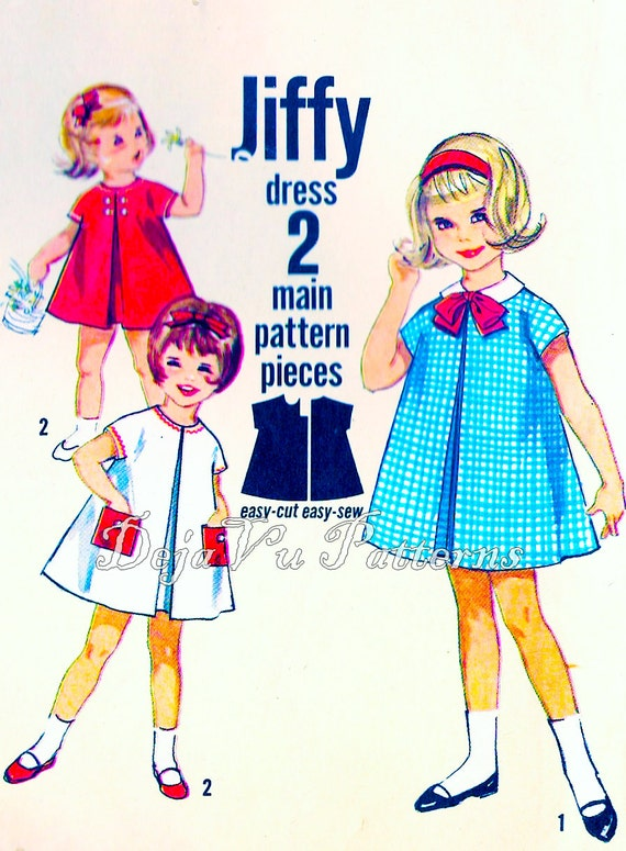 Simplicity 4872 Vintage 1960s Girl's Jiffy Dress Sewing Pattern Size 1