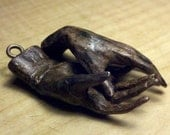 "Custom listing ,1 , 2"" long small bronze hand with bronze screw eyes,"