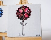 Small Pink Flower Original Art With Tiny Easel