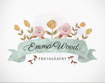 Logo Design Custom Premade Watercolor Flowers for Photography, Boutique, Small Business