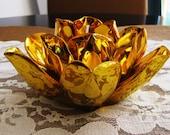 vintage gold flower tealight candle holder. desk accessory. dorm decor. autumn decor