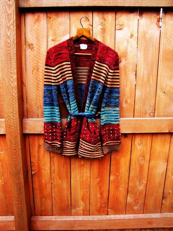 vintage colorful cardigan. boyfriend sweater. oversized cardigan.  size M. fall fashion