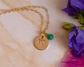 Gold Virgo Necklace - Tiny gold Virgo Zodiac Sign Pendant on 14k Gold Filled Chain with Turquoise or CHOOSE GEMSTONE - Small Simple Dainty