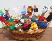 Set of  50 Finger Puppets Toys hand knitted - Assortment  FREE SHIPPING U.S.