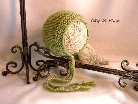 Knitted Baby Bonnet, Apple Green, Newborn, Photo prop, RTS