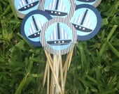Birthday for Boys- Sailboat & Nautical Themed Cupcake Toppers- Blues and Greys
