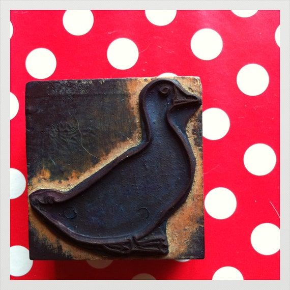 reserved .French vintage rubber stamp duck